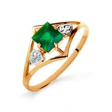 585/14 Ct Rose Gold Ring with Green Onyx