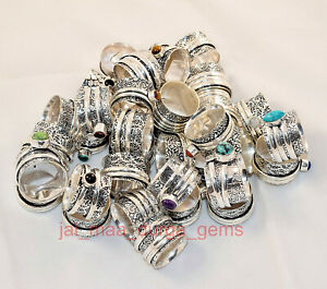 New PCs Lot Spinner Mix Stone 925 Silver Plated spinner Meditation Challa Ring S