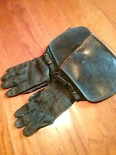 antique 1890-1930 Hansens gauntlet leather driving gloves small black