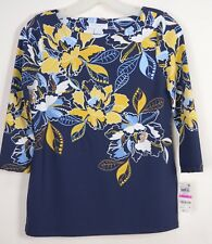 Charter Club NWT PS Knit Top 3/4 Sleeve Blue Yellow Floral Stretch Nylon MSRP 70