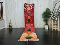 "Handmade Moroccan Boujaad Runner Rug 2'2""x10'8"" Geometric Red Wool Berber Carpet"