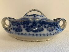 Antique Early Flow Blue Vegetable Tureen / Serving Dish