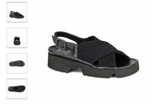 Thierry Rabotin Willis Black Ruched Comfort Sandal Women's Sizes 36-42/6-12/NEW!