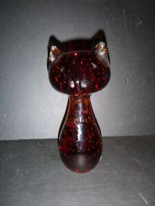 Vintage Modern Amber Studio Art Glass Cat MCM Mantorp Sweden Label Paperweight
