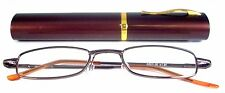 Mr. Reading Glasses [+2.75] 1 Metal Frame Brown Reader Match Case Hinged 2.75