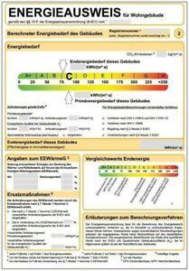 Energieausweis nach aktueller EnEV, Verbrauchsausweis, 10 Jahre Gültigkeit,