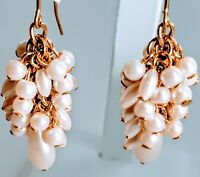 Vintage MONET Gold Tone Faux Pearl Dangle Drop Fancy Hook Pierced Earrings