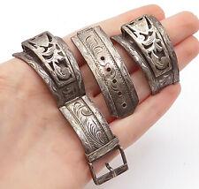 925 Sterling Silver - Vintage Antique Dark Tone Floral Watch Strap Set - T2242