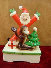 VERY RARE Vintage CURIOUS GEORGE MUSIC BOX Santa Claus GORHAM Japan CHRISTMAS