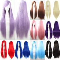 Women Long Straight Full Wigs Synthetic Hair Cosplay Costume Wig Halloween Party