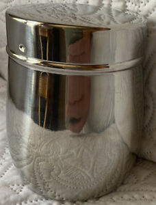 """Small 4"""" STAINLESS Steel 18/10 Storage CANNISTER Container~ Twist on notched Lid"""