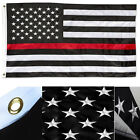 2x3 Embroidered USA Thin Red Line American 210D Sewn Nylon Flag 2'x3' 2 clips
