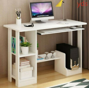 Computer Desk with 2 Tier Shelves Storage Shelf Keyboard Tray Laptop Table White