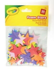 Crayola Peel & Stick Foam Stars - Assorted Colours & Sizes - Pack Of 80