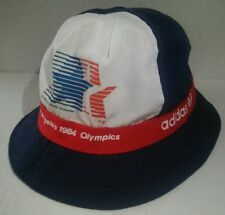 Vintage Adidas Los Angeles 1984 Olympics Bucket Hat Adult Large Cap Blue Red
