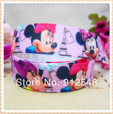 "1 METRE PINK MINNIE MOUSE GROSGRAIN RIBBON 22MM 7/8"" HAIR BOW CAKE CARD Printed"