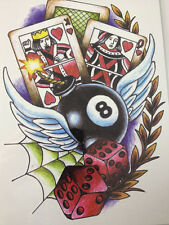 King queen Tattoo Stickers Body Art Waterproof Balls and cards eight billiard