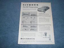 "1959 Citroen DS19 ID19 Vintage Ad ""Air-Oil Suspension"""