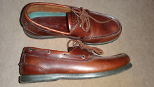 CLARKS MENS BROWN LEATHER BOAT SHOES UK 9