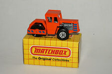 MATCHBOX #MB40 ROAD ROLLER, ORANGE W/ BLUE TAMPO, NEW IN BOX