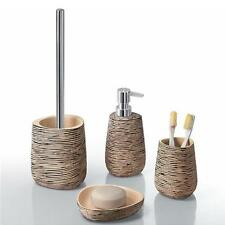 Set 4 accessori in resina beige con striature nere Gedy AQUARIUS