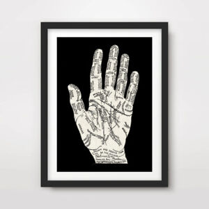 ANTIQUE HAND LINES CHART PALMISTRY ART PRINT Poster Wall Chart A4A3A2