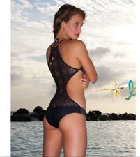 LULI FAMA Miami Nights Crochet Monokini One-Piece Swimsuit Black Gold MEDIUM M