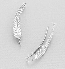 "1g PRETTY 1.2"" Sterling Silver Greek Leaf Ear Cuff Climber CRAWLER Stud Earrings"