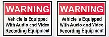 2 x Warning - Video & Audio Recording Equipment display decal Uber with velcros