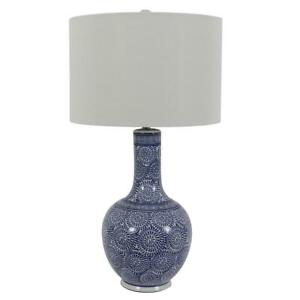27.5 in. Ceramic LED Blue and White Table Lamp with Shade by  Decor Therapy