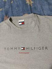 Vintage Retro Tommy Hilfiger T Shirt Grey Gray Vancouver Size Men XL