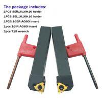 2pcs 5/8 CNC Lathe Carbide Indexable Threading Turning Tool Holder W/ 16ER AG60