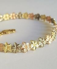 Womans 14k yellow white rose gold flower Bracelet 7.25 Inches Long 7 mm wide