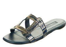 NEW Manolo Blahnik GRELLA Navy Gold FLAT PYTHON SNAKESKIN Sandals Shoe 36.5