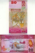 SRI LANKA billet neuf de 20 RUPPEES Papillon Chouette PORT DE COLOMBO 2010