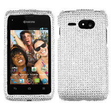 For Kyocera Event C5133 Crystal Diamond BLING Hard Case Phone Cover Silver