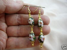 (EE603-100) Black pink flower 2 CLOISONNE bead dangle oval EARRINGS