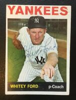 WHITEY FORD 1964 TOPPS SIGNED AUTOGRAPHED BASEBALL CARD 380 YANKEES
