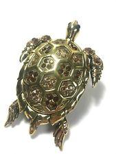Gürtelschnalle Metall Schildkröte Gold vergoldet Strass 12x8cm Gürtel Marincolo