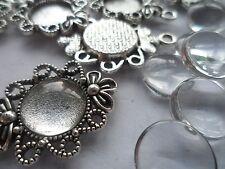 10 x 12mm Pendant/Earring Making Kit,10 x Antique Silver Pendants &  Cabochons .