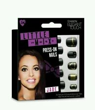 Elegant Touch Little Mix False Nails-jade Black & Gold Decorated Press on Nails