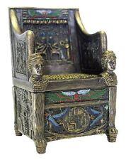 "2.75"" Egyptian Throne Jewelry Box Sculpture Ancient Egypt God Statue Decor"