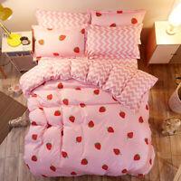 Strawberry Pattern Pink Bedding Set Duvet Cover +Sheet+pillow Case Four-Piece