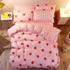 Strawberry Pattern Pink Bedding Set Duvet Cover Sheet Pillow Case Four-Piece
