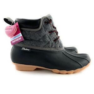 Skechers Women's Pond Lil Puddles Waterproof Black Charcoal Duck Boots Size 10 M