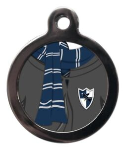 Pet ID tag BLUE & GREY SCARF FUN WIZARD Personalised Tag or Keyring 2 sizes