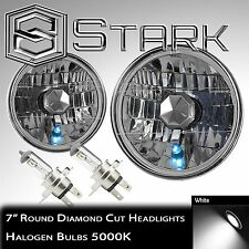 "Pair H6024 7"" Headlight Housing Glass Diamond Cut Lamp Chrome - H4 Bulbs (A)"