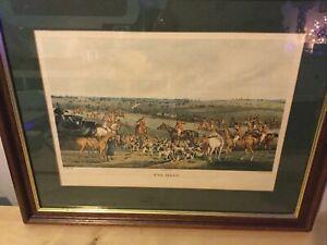 "Rare Framed Print ""THE MEET"" 1835 Hunting H. Alken Delt. F.C Lewis Sculpt"