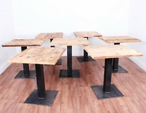 Urban Industrial Bistro Table, Reclaimed Scaffold Board Industrial Style