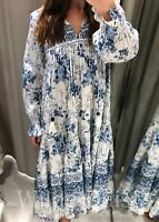 ZARA NEW LONG BLUE & WHITE FLORAL PRINT MAXI DRESS RUFFLES VINTAGE SIZE XS-XXL